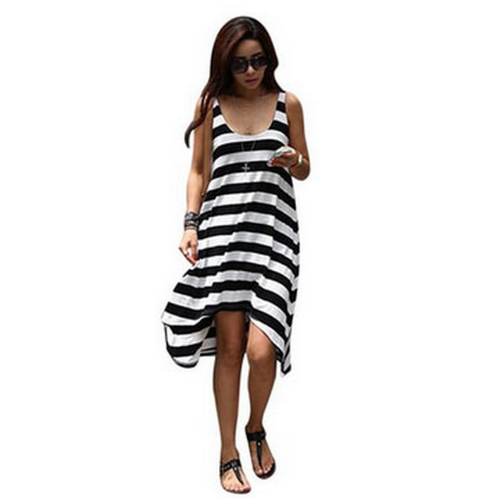 Women's Stripe Asymmetric Sundress Only $8.47 + FREE Shipping!