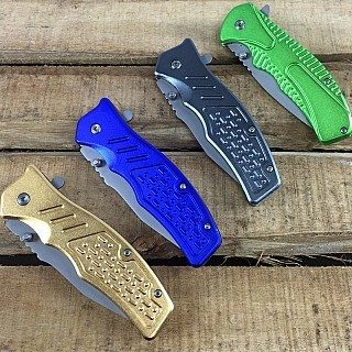 "Metallic Spring Assisted 8"" Pocket Knife w/ Clip Only $3.99 Plus FREE Shipping!"