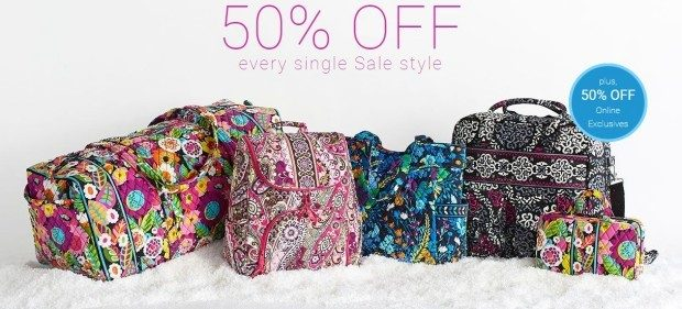 Vera Bradley Sale!  50% Off Sale PLUS FREE Shipping On ALL Orders!