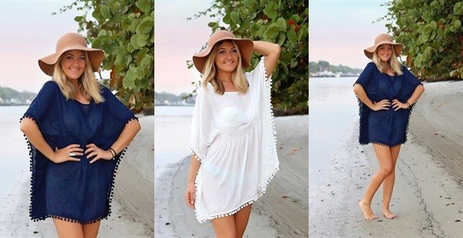 Pom Pom Trim Cover Up Only $18.99! Down From $38.00!