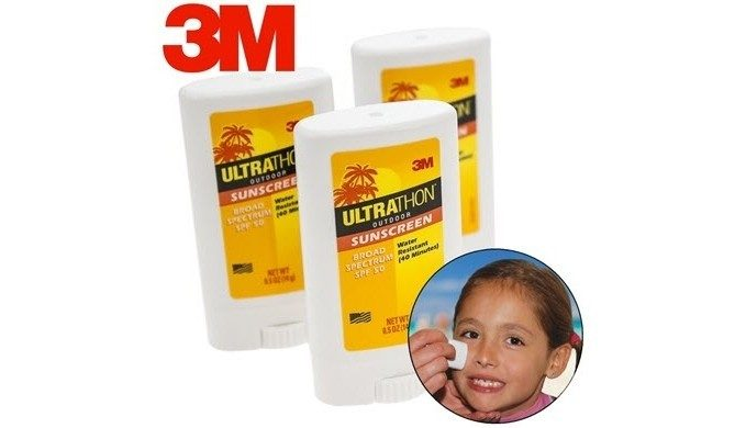 Ultrathon 3M Sunscreen Face Sticks - 3 Pack Only $6 Plus FREE Shipping!