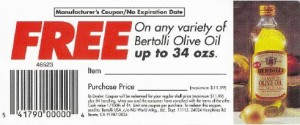 Fraudulent Bertolli Coupon