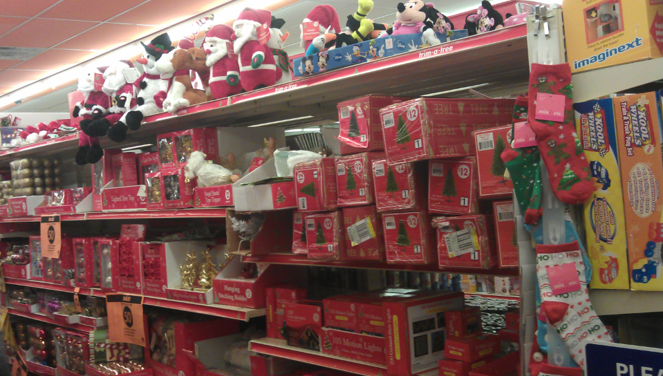then i saw the aisle of christmas decorations
