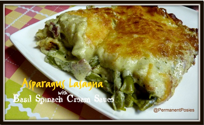 Asparagus Lasagna with Basil Spinach Pesto Cream Sauce