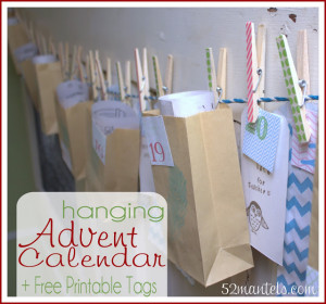 """This week's """"Making A Merry Christmas"""" craft - Hanging Advent Calendar + :fr: Printable Tags! Making A Merry Christmas: Hanging Advent Calendar + FREE Printable Tags! I placed my advent calendar across a large door-turned-chalkboard in my kitchen. It's the perfect spot for adding Christmas cheer, but well out of reach of tiny hands. Momma gets to control the advent calendar!"""