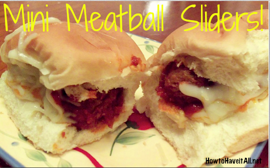 Mini Meatball Sliders Recipe!  Great for appetizers or a family finger food meal!