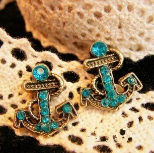 Bronze Crystal Anchor Earrings Only $3.29 SHIPPED!