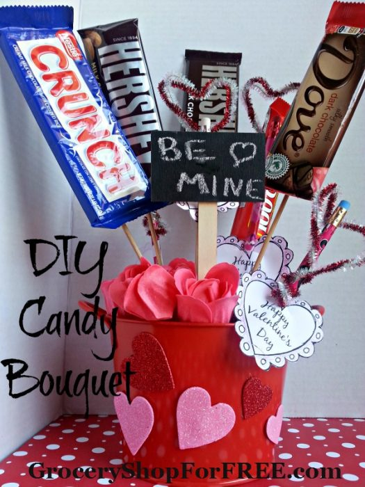 Diy valentine s day candy bouquet