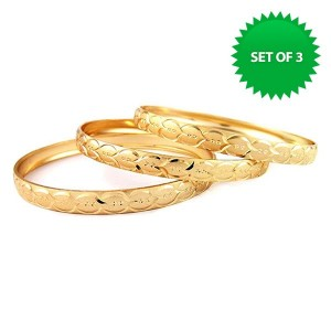 18K Gold Plated Diamond Cut Bangles Only $9 Shipped!