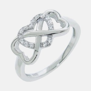 Sterling Silver Pave Heart Infinity Ring For Only $12.99!