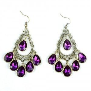 Waterdrop Dangle Earrings in Purple Only $1.59 SHIPPED!
