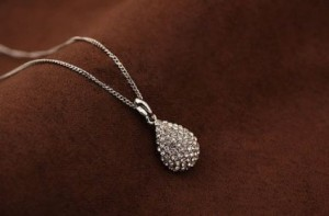 Crystal Teardrop Pendant Necklace Just $2.00 SHIPPED!