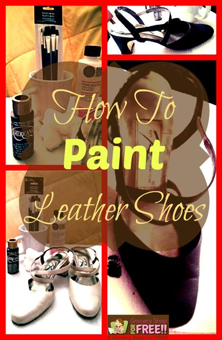 "Have you ever painted leather shoes before?  Or painted any kind of leather?  I had no idea how to paint leather and never even thought of it!  A couple of weeks ago my daughter came and took a pair of my Mom's shoes to ""paint"" them.  I was pretty skeptical of the entire idea, but, she did a great job! So, here you go:"