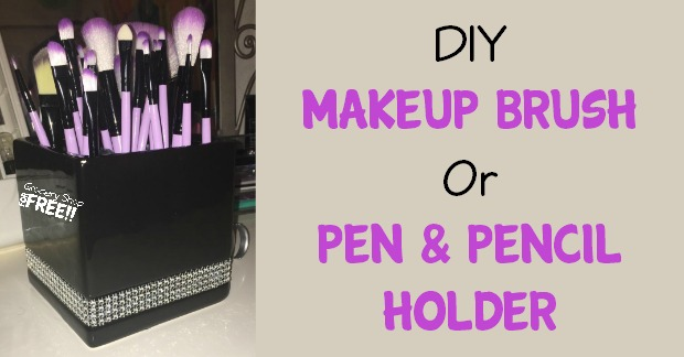 This super easy & cute DIY Makeup Brush Or Pen & Pencil Holder is the perfect organization tool for kid's or preteens areas & college student's dorms.