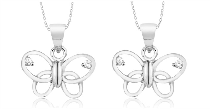 FREE Sterling Silver CZ Butterfly Necklace! Down From $90!