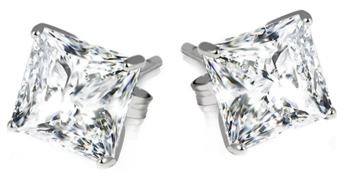 FREE Sterling Silver Princess Cut Earrings! Down From $130!