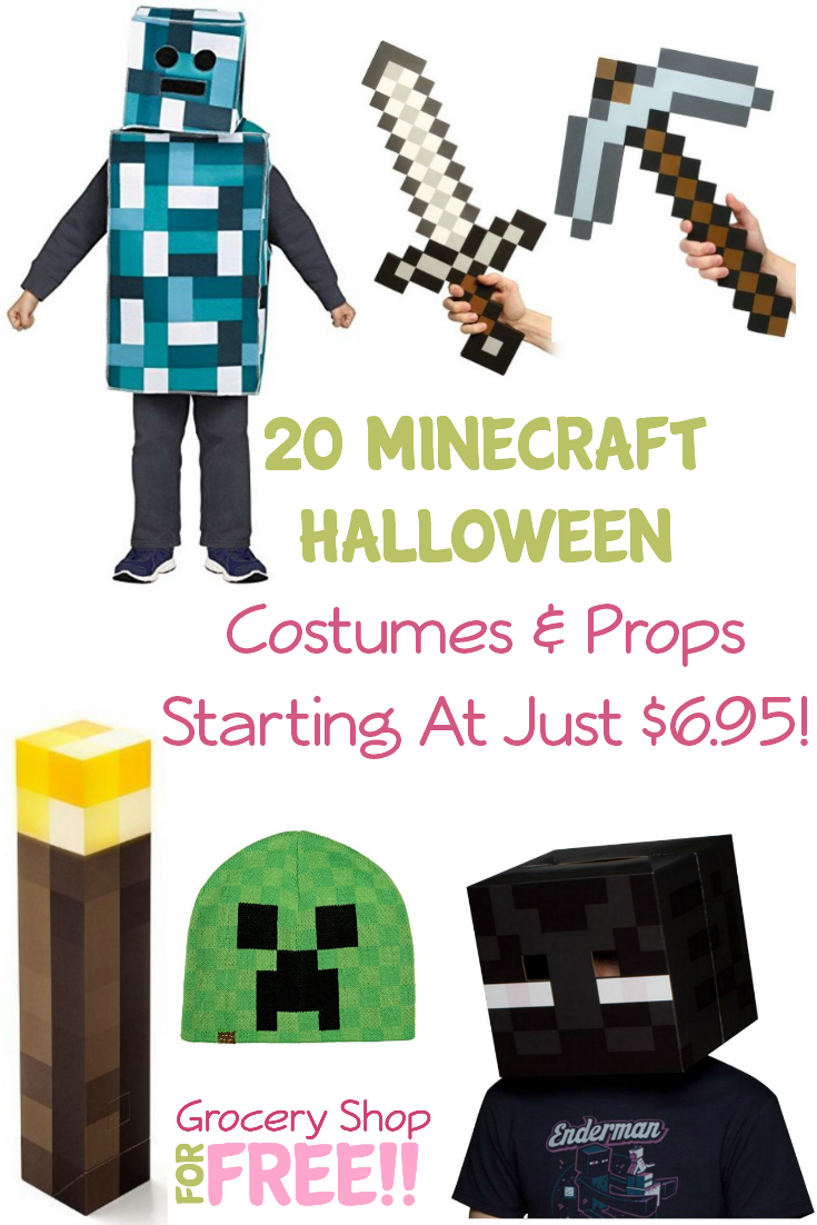 This is a great roundup of Halloween costumes for the Minecraft lover in your life!  We have put together 20 Minecraft costumes and props starting at just $6.95!