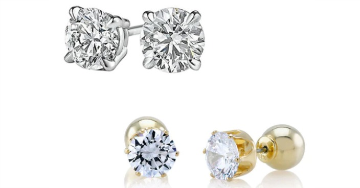 White & Yellow Gold Plated CZ Earrings Just $7.99! Down From $50! Ships FREE!