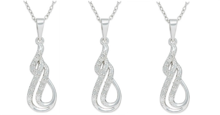 Diamond Double Row Swirl Pendant Necklace Only $15! Down From $100!