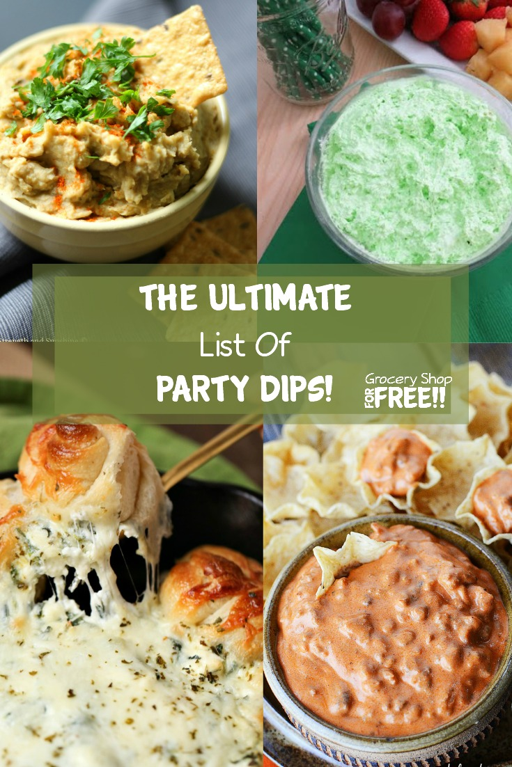 Party Dips:  This IS the ULTIMATE Party Dips List!    From Savory to Sweet you'll find the right dip or dips you need for any gathering at any time of year!  Whatever you want to dip, there's a dip for that!  From fruit to chips and everything in between these dips will have you covered!  Make sure to save this list so you can use it all year!