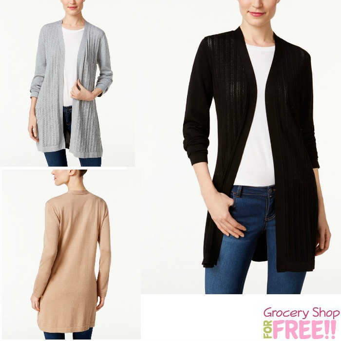 Karen Scott Pointelle Open-Front Cardigan Just $8.99!  HURRY!