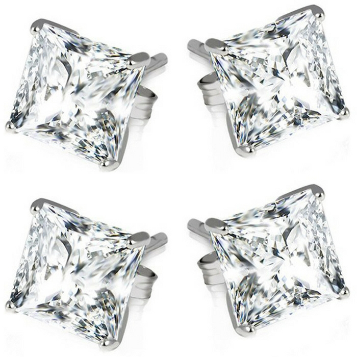 Sterling Silver Princess Cut Earrings Just $5.99! Down From $130! PLUS FREE Shipping!