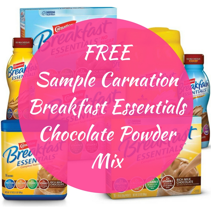 FREE Sample Carnation Breakfast Essentials Chocolate Powder Mix!