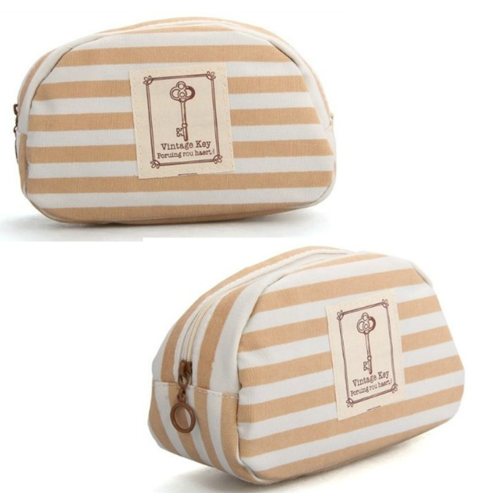 Marine Stripe Khaki Cosmetic Pouch Only $2.70 PLUS FREE Shipping!