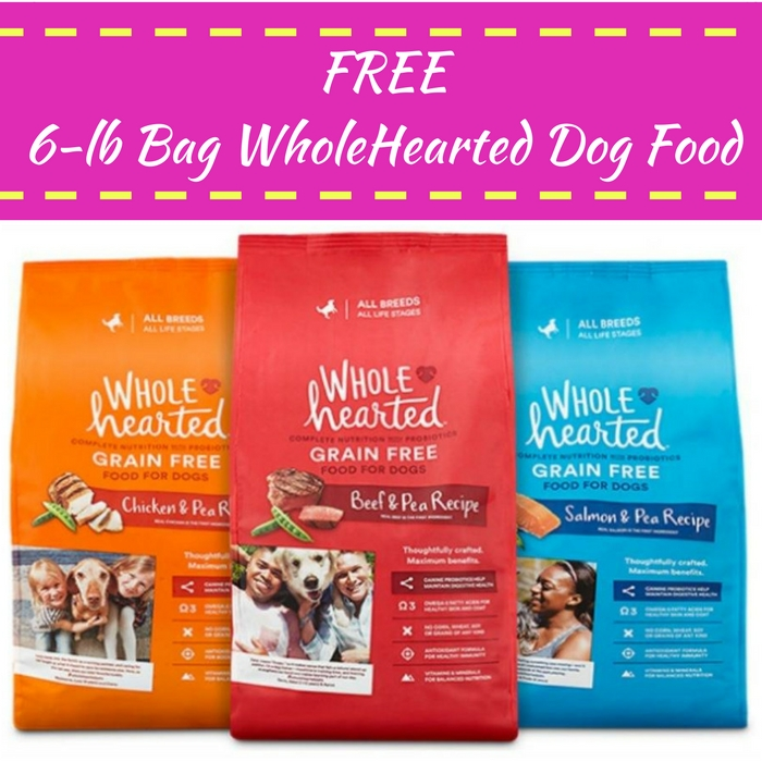 FREE 6-lb Bag WholeHearted Dog Food With Any Purchase!