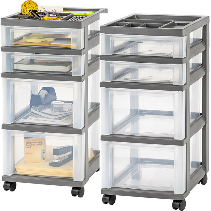 IRIS 4-Drawer Storage Cart With Organizer Top Just $12.48!
