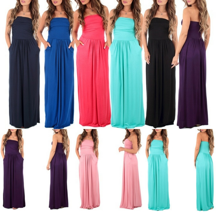 Women's Strapless Ruched Maxi Dress With Pockets Just $19.99! Down From $80!