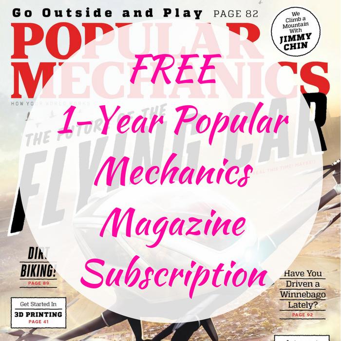 FREE 1-Year Popular Mechanics Magazine Subscription!