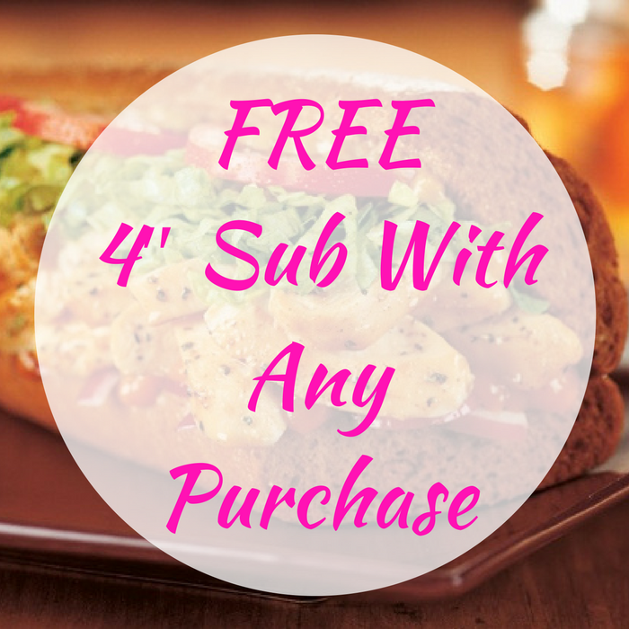FREE 4″ Sub With Any Purchase!