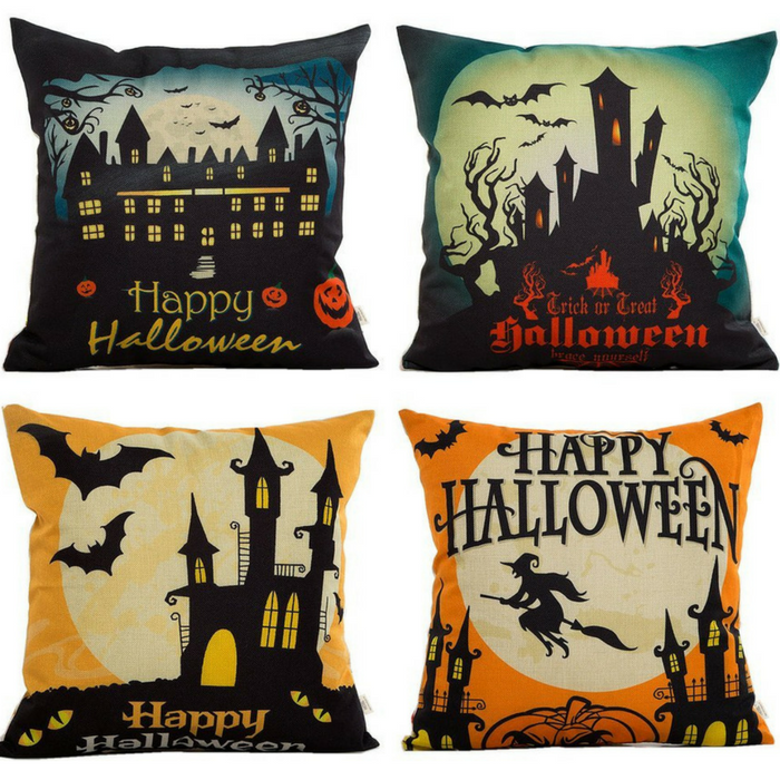 Happy Halloween Throw Pillow Case 4-Pack Just $12.69!