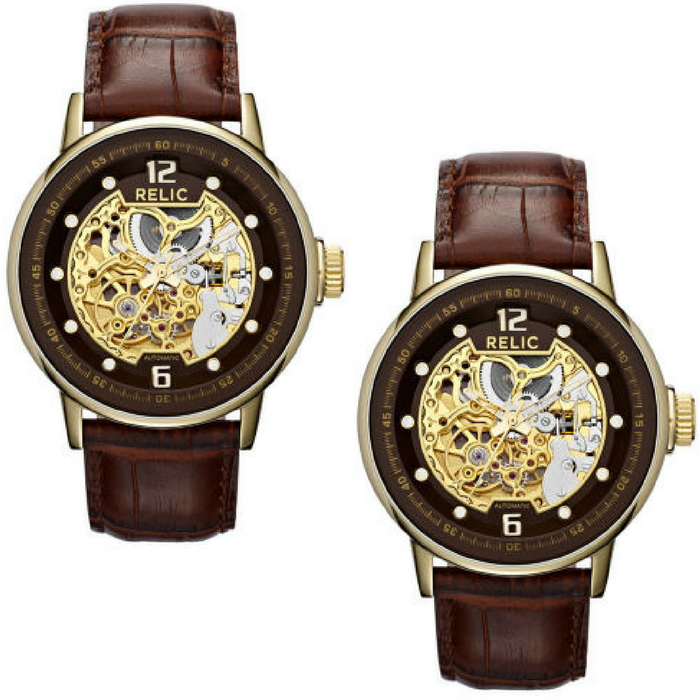 Relic Men's Automatic Leather Skeleton Watch Just $46.20! Down From $120! PLUS FREE Shipping!