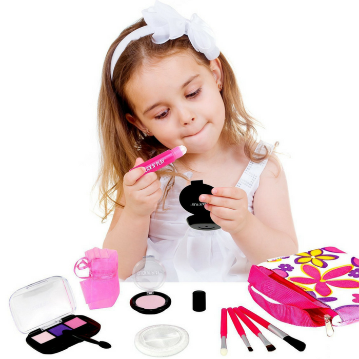 Pretend Play Cosmetic And Makeup Set With Floral Tote Bag Just $11.04!