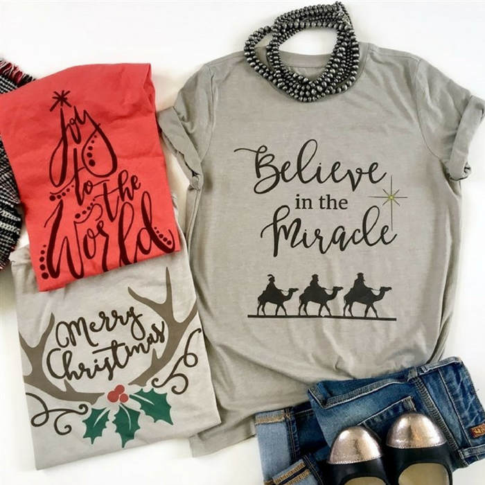 Believe & Joy Holiday Tees Just $13.99! Down From $28!