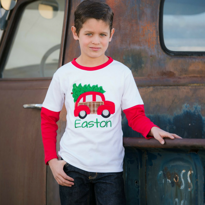 Personalized Boys Christmas Shirts Just $17.99! Down From $24!