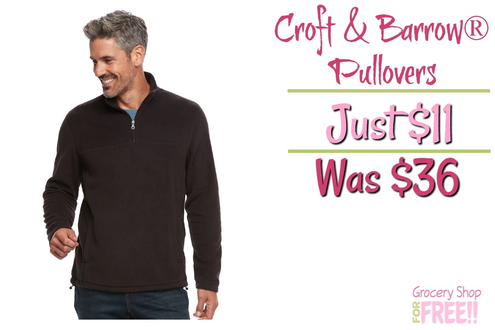Men's Croft & Barrow® Arctic Fleece Quarter-Zip Pullovers Just $11!  Down From $36!