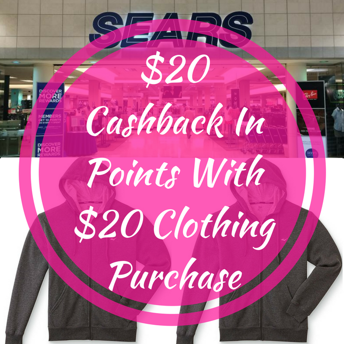 $20 Cashback In Points With $20 Clothing Purchase!