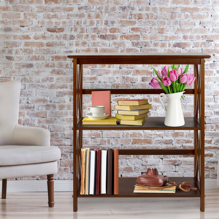 Brown Wooden 3-Shelf Bookcase
