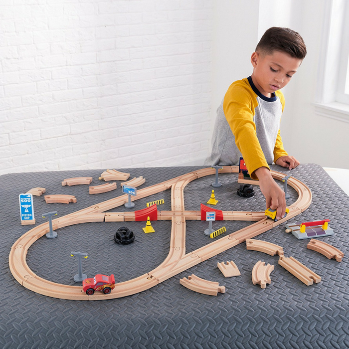 KidKraft 55-Piece Wooden Racetrack