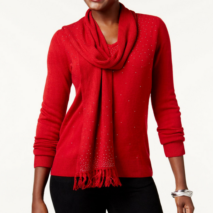 Detachable-Scarf Sweater