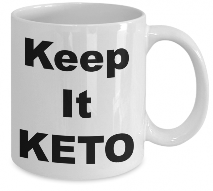 White Ceramic mug with black block letters:  Keep It Keto