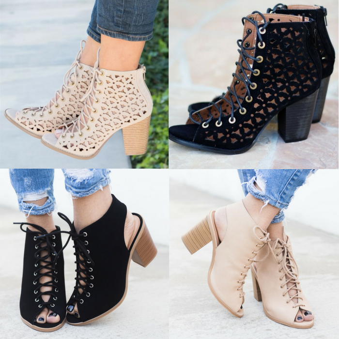 Lace Up Fashion Heels