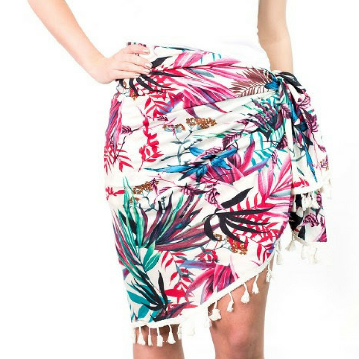 Tropical Floral Round Beach Wrap