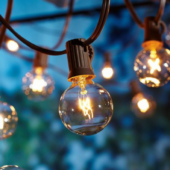Free Outdoor Clear Globe String Lights!