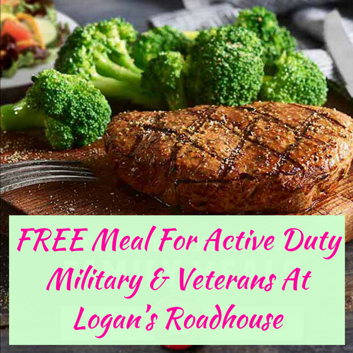 FREE Meal For Active Duty Military & Veterans At Logan's Roadhouse!