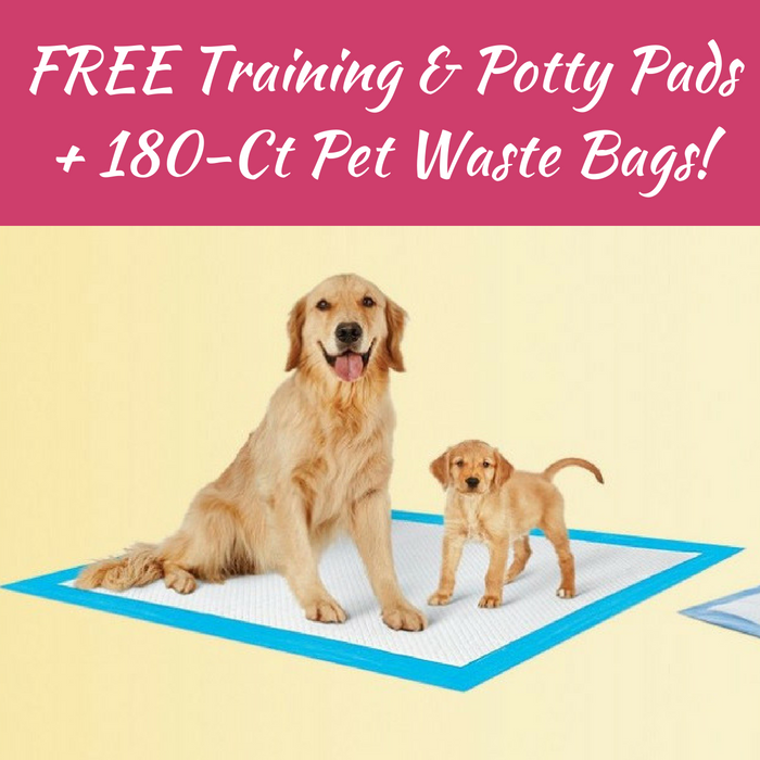 2 FREE Training & Potty Pads + 180-Ct Pet Waste Bags!