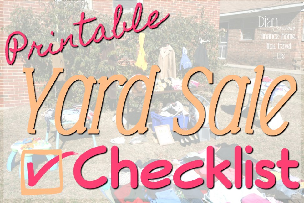Here's a free Printable Garage Sale, yard sale, or moving sale Checklist to help you get organized and make that next garage sale or yard sale a success!